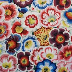 GLOXINIAS in Natural printed woven cotton quilt fabric designed by Phillip Jacobs for Kaffe Fassett features large striking flowers in bright colors