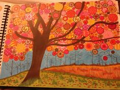Another page from the marker journal...fall tree #getmessyartjournal