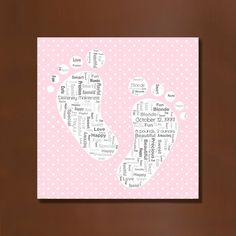 Baby Girl Word Art Canvas-Personalized Birth Announcement Wall Canvas