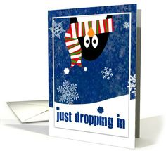 Happy Holidays, Cute Penguin dropping in... | Greeting Card Universe by Judy Cotrone-Ramirez