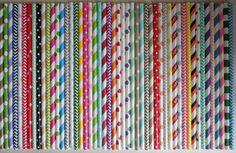 50 PAPER STRAWS SAMPLER  Mix of Striped Paper Straws, Chevron, Polka Dots, Hearts, Stars- Easter Ideas, Mother's Day Gift Ideas, Wedding Birthday Baby Shower Mason Jars $5.99