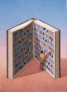 Illustrations about books - Gurbuz Dogan Eksioglu - Personal library I Love Books, Good Books, Books To Read, Reading Art, I Love Reading, Reading Books, Reading Lists, What Book, World Of Books