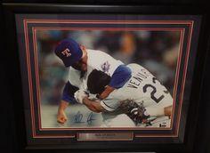 "Texas Rangers Nolan Ryan Headlocks Ventura Autographed MLB Baseball 16"" x 20"" Framed and Matted Photo"
