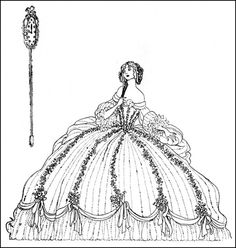 Vintage Black and White Illustration-Cinderella-- Jeannie Harbour