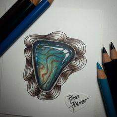 "102 Likes, 3 Comments - Rose Rambo (@vitruvian_art) on Instagram: ""My new favorite!! Love this gem #gemlover #gemaholic #gem #gemstonecoloring #polychromos…"""