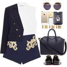 Navy and gold by endimanche on Polyvore featuring polyvore, fashion, style, Neil Barrett, Topshop, Finders Keepers, Jil Sander, Givenchy, ASOS and Coco