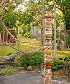 Garden Tour: Door County Mosaic Art Midwest Living Jell-o mold garden totem