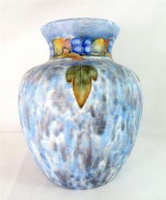 Art Nouveau Large Cranston Pearl Pottery Tubelined Leaf Motif Vase - Ebay £12.95