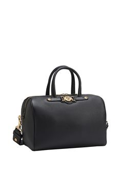 This #Versace calf leather duffle bag in black has a timeless appeal. #VersaceWomenswear