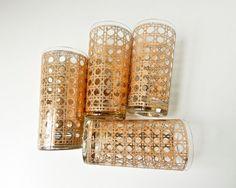 Mid Century Modern Highball Glasses Metallic Gold by BeeJayKay