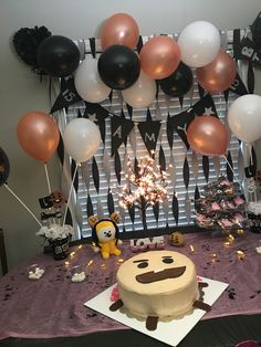 Bts birthday party with Shooky cake Army's Birthday, 13th Birthday Parties, Happy Birthday Me, Bts Cake, Bts Birthdays, Cute Desserts, Party Themes, Party Ideas, 20 Years