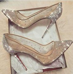 cinderella stiletto heels / glitter pumps / women's shoes from Louboutin Cute Shoes, Me Too Shoes, Fancy Shoes, Prom Heels, Sparkly Heels, Silver High Heels, Bling Heels, Black Pumps, Bling Bling
