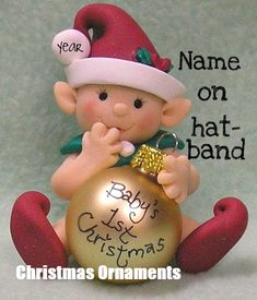 Gnome, Fairy, Elf Baby's First Christmas Personalized Christmas Ornament, Baby's 1st Christmas Ornament, Babys 1st Christmas, Polymer Clay Christmas, Personalized Christmas Ornaments, Xmas Ornaments, Christmas Elf Decorations, Polymer Clay Ornaments, Polymer Clay Projects, Polymer Clay Creations