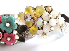 Bridal bracelet - bridesmaids gift in yellow and white - wedding cuff wrist corsage - vintage flowers and rhinestones -$75.00
