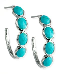 Playful but elegant, modern but inspired by classical designs, these Ippolita earrings are at home in almost any look. Fluid sterling silver displays bold turquoise—one of our current favorite colors. Offering a clean, light feel, it's the perfect accent for sophisticated warm-weather outfits.