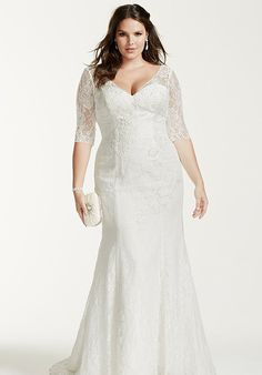 David's Bridal 3/4 Sleeve All Over Lace Trumpet Gown Plus Size