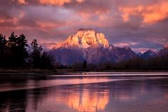 Sunrise at Grand Teton National Park looks something like this: Beautiful! Juliet Schwab captured this image a few years ago as the sun's rays illuminated the top of Mount Moran and turned the sky pink. Photo courtesy of Juliet Schwab.