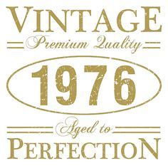 Born In 1976 T-Shirt, a funny gift idea for men and women celebrating a 40th brithday. that says 'Vintage, Premium quality, aged to perfection'.