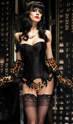 Corsets:  Rose Flower Gothic Black Corset with Cheetah Gloves and Thong.