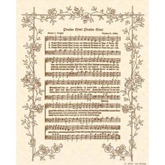 PRAISE HIM, PRAISE Him--- 8 X 10 Antique Hymn Art Print