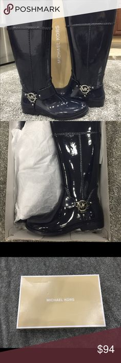 Michael Kors Fulton Harness Tall Boot Bought these off this sight and didn't realize when I bought them that they were Navy color. As they are beautiful I am not much of a person to wear a lot of blue. I have always bought the Fulton Rainboot in black.  These are 100% authentic. The box has a pop label on it which they attach to an item when you buy it from Dillard's. STYLE: FULTON HARNESS TALL RAINBOOT. COLOR IS NAVY BLUE, BUT LOOKS BLACK. Size 8.0. New with tags and box included. Trying to…