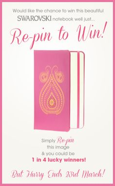 #Win 1 of 4 @Swarovski notebooks. Simply follow The Jewel Hut on Pinterest and #RepinToWin. Ends 23/03/2014. T&C's Apply.