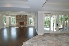 New wood tile floor living room transition Ideas Tile To Wood Transition, Transition Flooring, Floor Design, House Design, Pulte Homes, Wood Tile Floors, Great Rooms, Home Projects, Home Remodeling