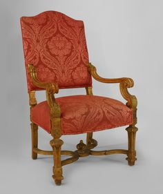 French Louis Xiv Rose Upholstery Chairs