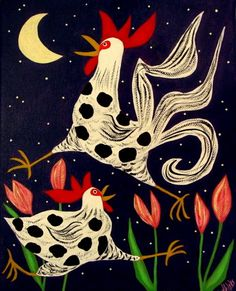 Outsider Folk Art Rooster and Hen in the Tulips - J. Blake