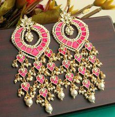 Simple Techniques of Making DIY Stud Earrings Indian Jewelry Earrings, Indian Wedding Jewelry, India Jewelry, Bridal Jewelry, Gold Jewelry, Jewellery, Women Jewelry, Traditional Earrings, Imitation Jewelry