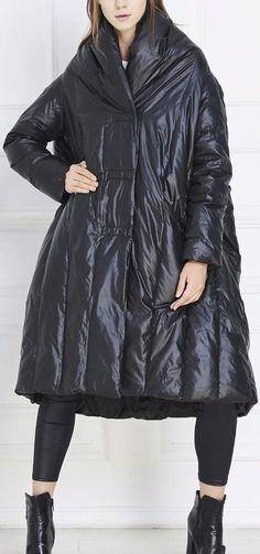 Black Paneled Long Boxy Puffer Down Coat