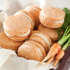 Carrot Cake Macarons with Maple Cream Cheese Frosting | 14 Dreamy Carrot Cake Recipes | Healthy And Delicious DIY Desserts, Definitely Worth A Try : http://homemaderecipes.com/14-carrot-cake-recipes/