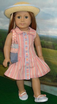 Melon Stripe Dress with Hat & Purse for AG dolls, by SugarloafDollClothes on Etsy $59.00