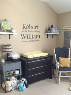 Custom design for a customer's Nursery - The definitions of her boy's first and middle name! Great custom wall quote design