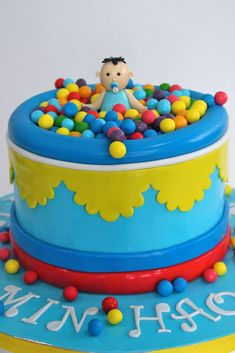 Perfect ball pit cake for ball pit themed birthday party!