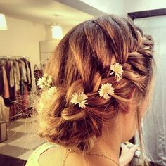 french braided up do, flowers, wedding ideas