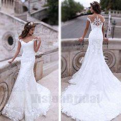 Charming Sexy Mermaid White Lace Bridal Gown Wedding Dresses, Wedding Dress, VB0664