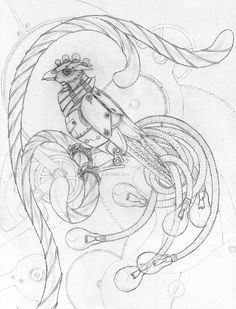 Steampunk Phoenix - Sketch by ~bloodhound-omega on deviantART