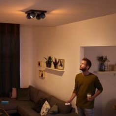 Philips Hue White Ambiance Buckram LED-Spotleuchte 4-flammig weiß, 4x 350lm, Dimmschalter - Deckenleuchten - Leuchten - LEDs.de Philips Hue App, Bluetooth, Led Spots, Magenta, Curtains, Modern, Home Decor, Boutique, Products