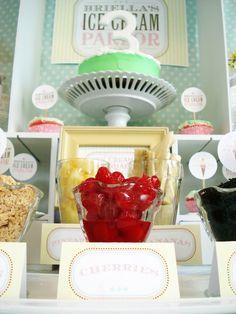 Ice Cream Parlor Birthday Party - My Lady Dye Love Ice Cream, Ice Cream Parlor, 3rd Birthday Party For Girls, Mint Cake, Sundae Bar, Strawberry Milk, Cute Cupcakes, Recipe Cards, Dessert Table