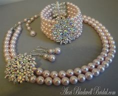 Complete Bridal Jewelry Set Blush Pink Wedding by AlexiBlackwellBridal