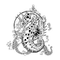 Black And White Pointillism Style Illustrations Radomir Mudrinic Serbia Adult Coloring Pages, Colouring Pages, Coloring Books, Seahorse Art, Seahorses, Seahorse Drawing, Illustrations, Illustration Art, Tangle Art