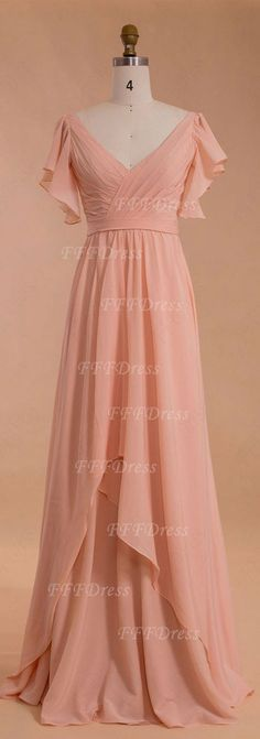 Modest peach bridesmaid dress with sleeves V neck bridesmaid gowns for peach wedding bridesmaid styles wedding guest dresses