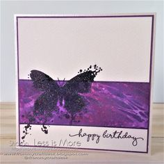 Beautiful inky CAS birthday card made with distress oxides, distress ink, Visible Image Stamps and stencil, and Wow! Embossing powder.