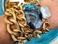 Turquoise Swirl Faceted Agate Stone Huge Gold Knurled Chunky Curb Chain Bracelet  by CharmingChain