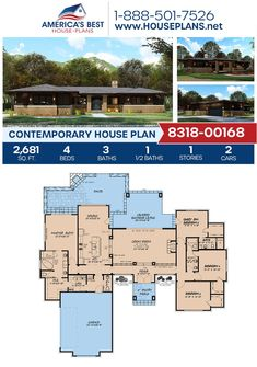 Check out this awesome Contemporary home design, Plan 8318-00168 details 2,681 sq. ft., 4 bedrooms, 3.5 bathrooms, a guest room, split bedrooms, a kitchen island, an open floor plan, and a 2 car garage. #contemporaryhome #openfloorplan #architecture #houseplans #housedesign #homedesign #homedesigns #architecturalplans #newconstruction #floorplans #dreamhome #dreamhouseplans #abhouseplans #besthouseplans #newhome #newhouse #homesweethome #buildingahome #buildahome #residentialplans Best House Plans, Dream House Plans, Dream Houses, Contemporary House Plans, Contemporary Bathrooms, Building Section, Building A House, Floor Plan Drawing, Cost To Build