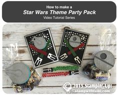 "videos: How to make a Star Wars Theme Party Pack crafts. do it yourself star wars. stampin up. card ideas. ——— STAMPIN UP S U P P L I E S ———  • Gusseted Cellophane Bags #133770 • 1"" X 8"" Cellophane Bags #124134 • Be The Star Clear-Mount Stamp Set #135734 • Silver Foil Sheets #132178 • Basic Black Archival Stampin' Pad #140931 • Basic Black 8-1/2X11 Card Stock #121045 • Basic Gray 8-1/2X11 Card Stock"