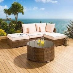 Luxury outdoor garden u shape 8 seat sofa group brown rattan cream grab a bargain in our outdoor garden sale find our already great value items reduced interest free credit available from quatropi workwithnaturefo