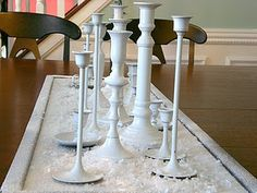 Old candlesticks turned into beautiful winter decor!