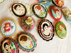 vestida de domingo inspired by frida kahlo style portraits traditional mexican folk art jewellery style brooches, cameos